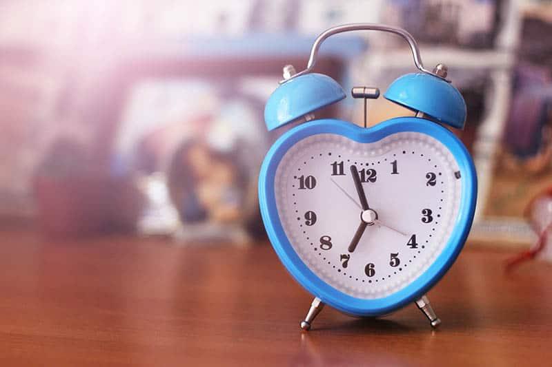 blue heart shaped clock