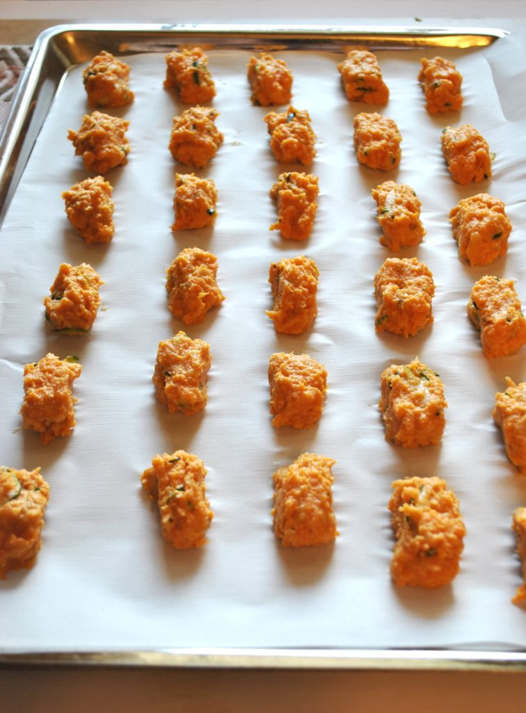 Sweet Potato Tots with Hidden Veggies (Paleo, Gluten Free, Dairy Free, Egg Free) Easy to make and freezes well!