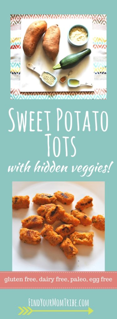 Sweet potato tots (with hidden veggies) Paleo, gluten free, dairy free, egg free. Easy to make and freezes well!