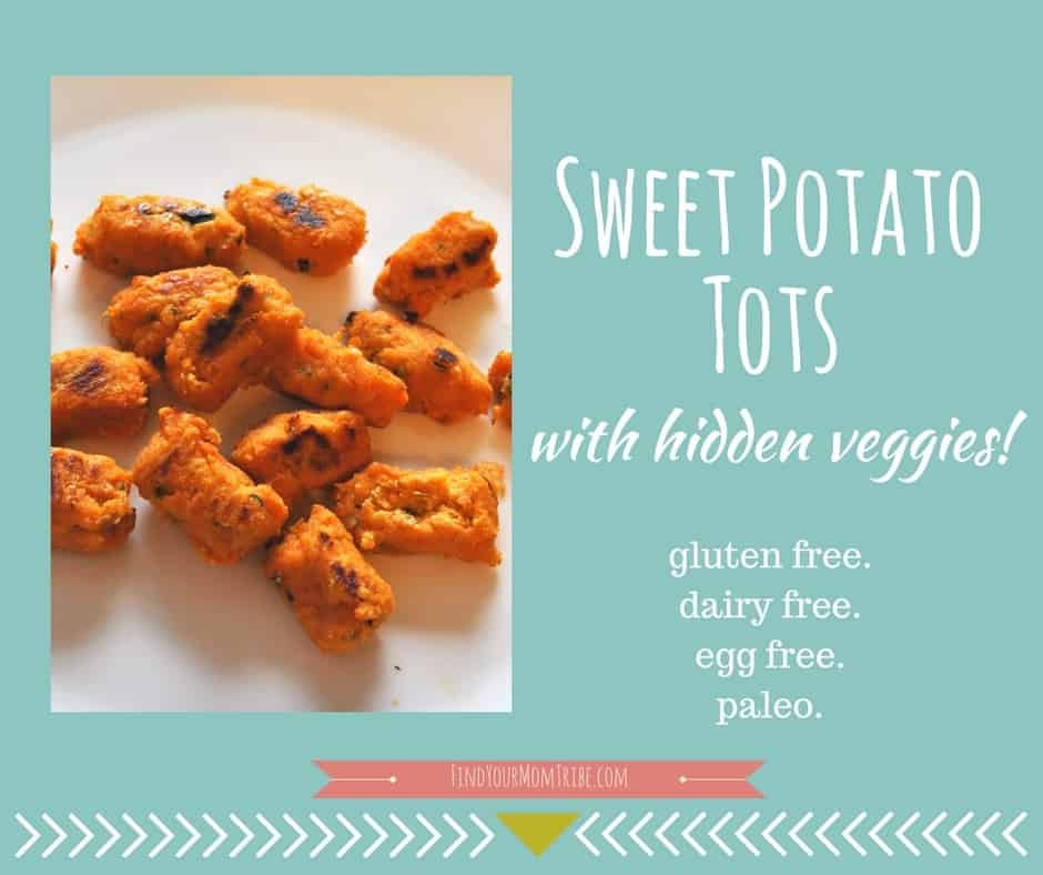 Sweet potato tots (with hidden veggies) Paleo, gluten free, dairy free, egg free. Easy to make and freezes well!!