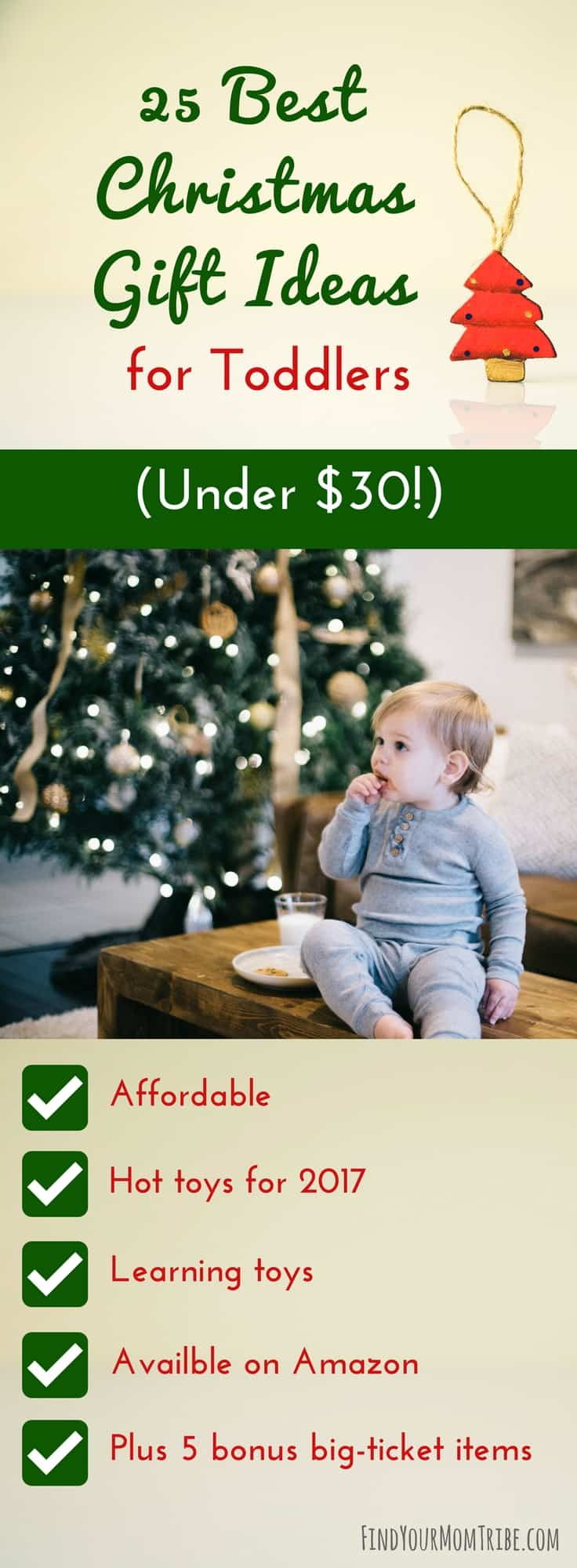 Not only is this a great list, but it's also hilarious! 25 Best Christmas Gift Ideas for Toddlers (Under $30!) #Christmasgiftideas #Giftideasfortoddlers #giftguide #toddlergiftguide #Giftsfor18montholds #Giftsfor1yearolds #Giftsfor2yearold #bestgifts2017 #giftsforkids #cheapgiftideas #Christmas