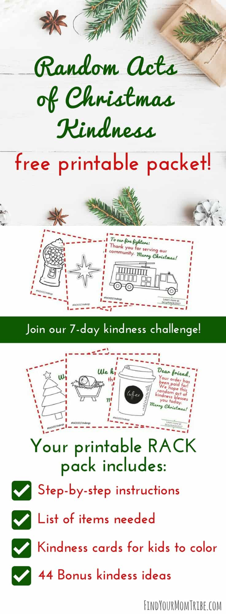 Be intentional this Christmas season and spread Random Acts of Christmas Kindness! Click here to get your free Random Acts of Kindness packet! It includes 20 pages of kindness ideas, step-by-step directions, and free kindness cards. #Christmas #Christmas2017 #Christmasideas #RandomActsofKindness #freeprintable #freeprintables #freeChristmasprintables