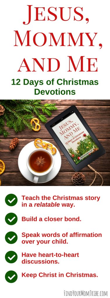 Finally! The Christmas story told in a relatable way! Get ready to nuture your child's faith and build a closer bond this Christmas season with Jesus, Mommy, and Me: 12 Days of Christmas Devotions. #Christmasdevotions #Christmasdevotional #Adventideas #Advent #Christmas #Christmasactivitiesforkids