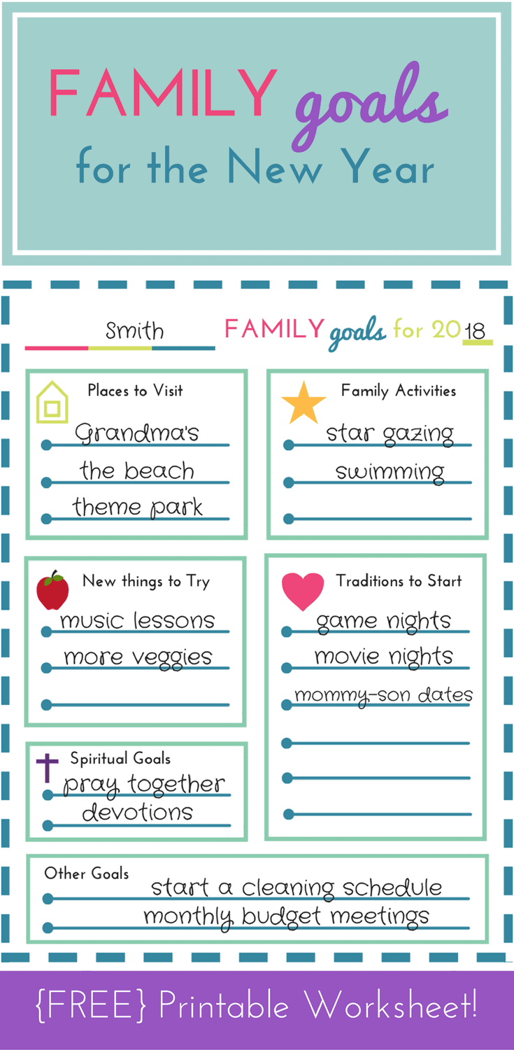 FREE Printable! Family Goal Setting Worksheet for the New Year ...
