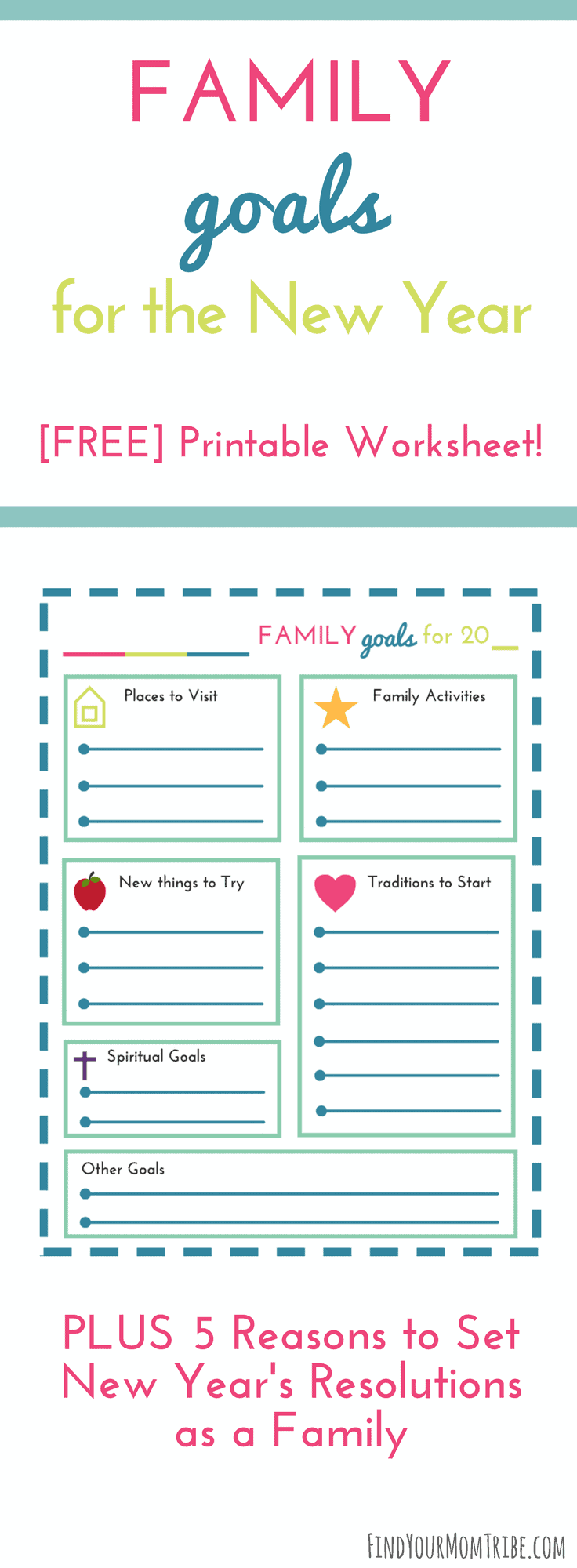 5 Reasons to Set New Year's Resolutions as a family - PLUS free printable New Year's worksheet! #goalsetting #NewYears #FreePrintables #NewYearsWorksheet #NewYearsResolutions #NewYearsPlanner #FamilyGoals #2018 #NewYears2018