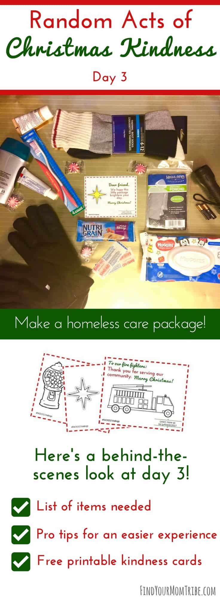 What a great idea! How to create a care package for the homeless. Join the Random Acts of Christmas Kindness challenge and grab your free printable kindness cards! #Christmas #MerryChristmas #blessothers #Christmas2017 #Christmasprintables #RandomActsofKindness #RandomActsofChristmasKindness #freekindnesscards #RACK #ROAK