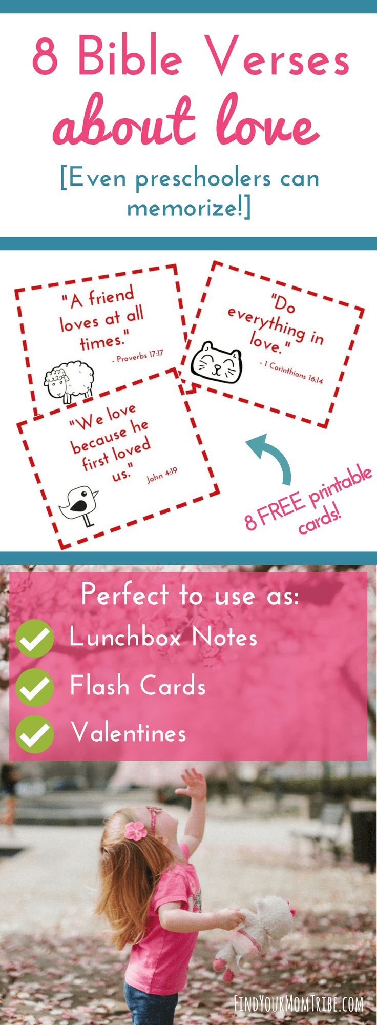 Simple and easy-to-memorize Bible verses about LOVE (even preschoolers can memorize!) Plus grab your free printable scripture cards perfect to use as lunchbox notes, thinking-of-you cards, Valentines, or flash cards. #freeprintables #memoryverses #valentinesday #valentinesdayprintables #freebie #scripture #Biblestudy #Bibleactivitiesforkids