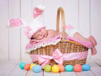 Newborn baby girl in a rabbit costume lying in a basket