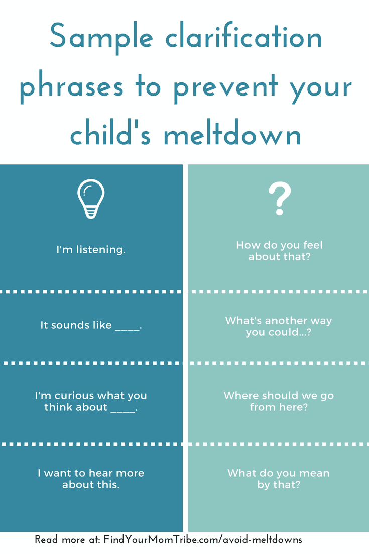 How to Ask Questions to Avoid Meltdowns (A peaceful parenting hack I learned by accident!) If you want to avoid power struggles and meltdowns, seeking clarification is one powerful tool you can start using today. Note: This article appears at findyourmomtribe.com/avoid-meltdowns