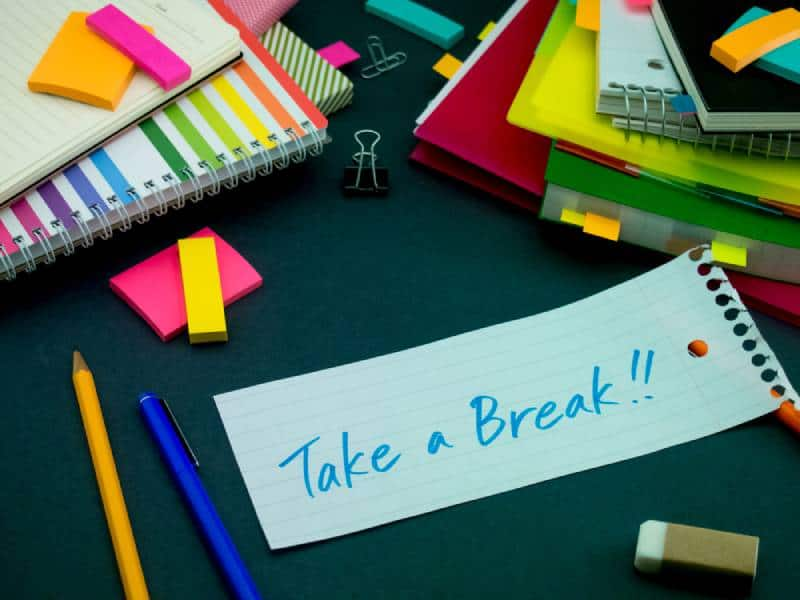 Take a Break message on paper with school supplies