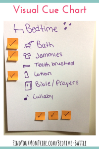 Visual cues for bedtime routine made from cardstock and post-it notes. Genius!