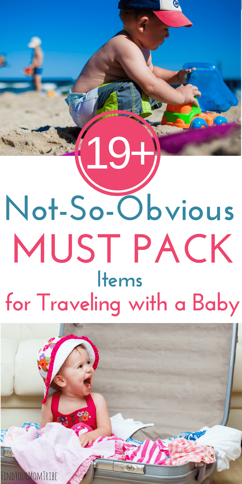 Whether you're traveling with a baby or a toddler, you won't want to forget these 19 genius items! Packing these not-so-obvious baby travel essentials will help your baby sleep better on vacation and stay healthy! (Baby travel tips included!) #vacation #babytravel #familyvacation