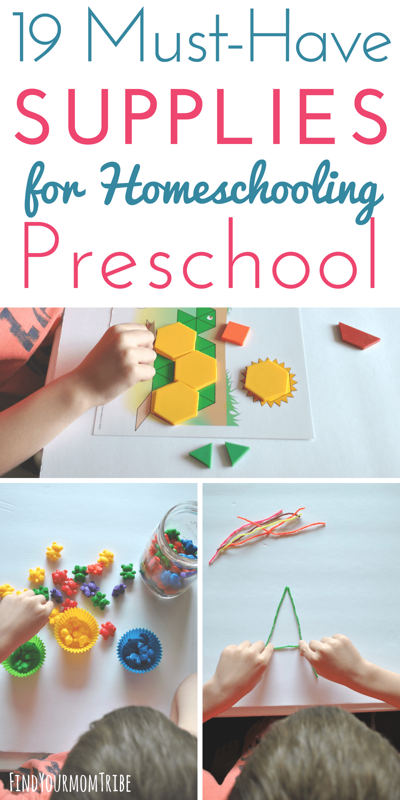 Looking for how to start homeschool preschool this year? Here are 19+ (not-so-obvious!) things you'll need for preschooling at home. These preschool supplies will provide you with simple, quick and easy activities that are FUN and educational at the same time. Click to see the whole list! Pre K tips | homeschool preschool ideas | teaching numbers and colors