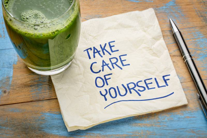 take care of yourself - inspirational handwriting on a napkin