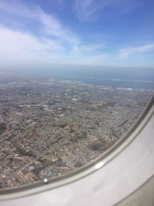 Ariel view of the San Diego skyline from an airplane