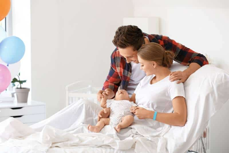 Young family with newborn baby