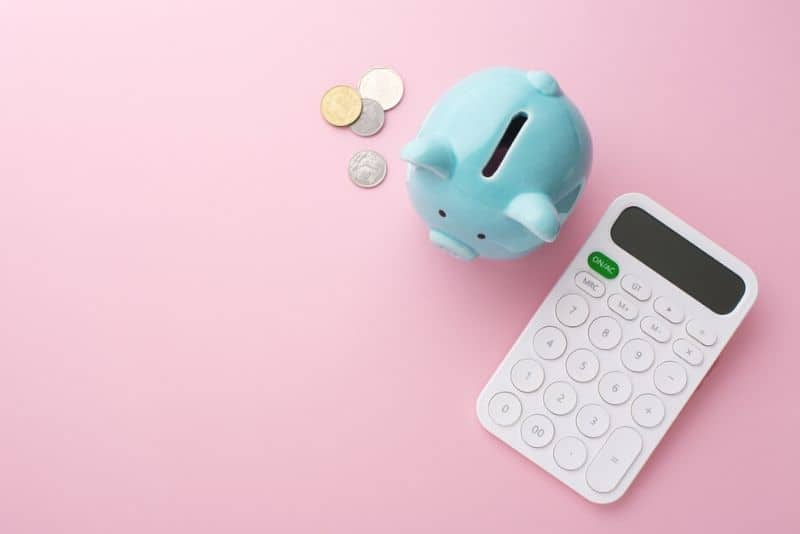 Piggy bank, calculator and coin on pink background, saving money concept