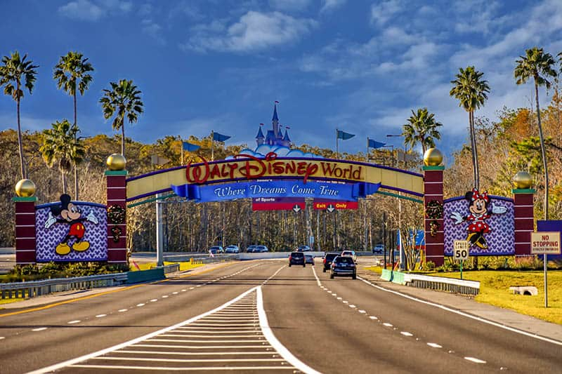 The road to a Disney world gate