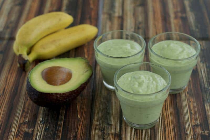 Avocado and banana puree