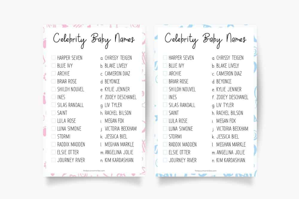 Celebrity Baby Names Free Printable