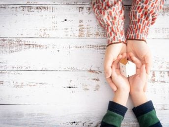 Mother's hands supporting little child's hands