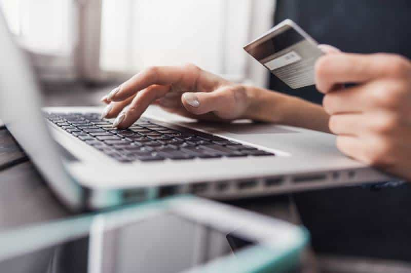 Laptop and credit card - Online shopping concept