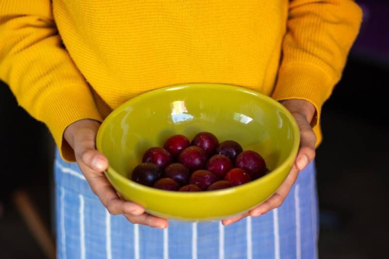 Woman holding up a bowl with fresh plums