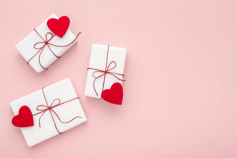 Wrapped Gifts with Hearts