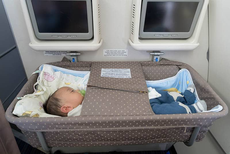 baby in special bassinet portable while travel