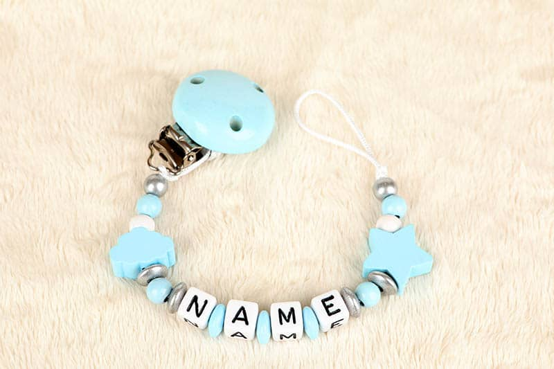 blue pacifier with boy name