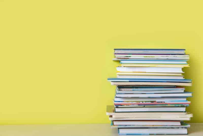 Children's books on a bookshelf