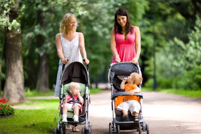 Happy mothers walking together with kids in strolles