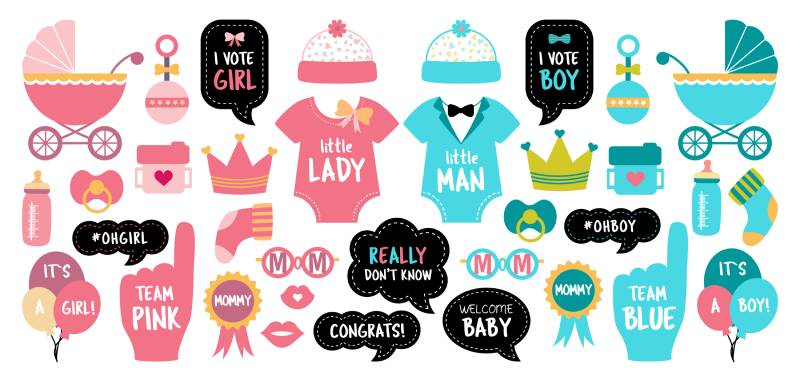 Pink and blue cards to choose boy or girl