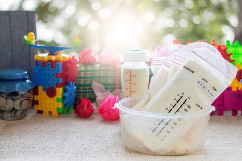Breast milk frozen in storage bags for baby