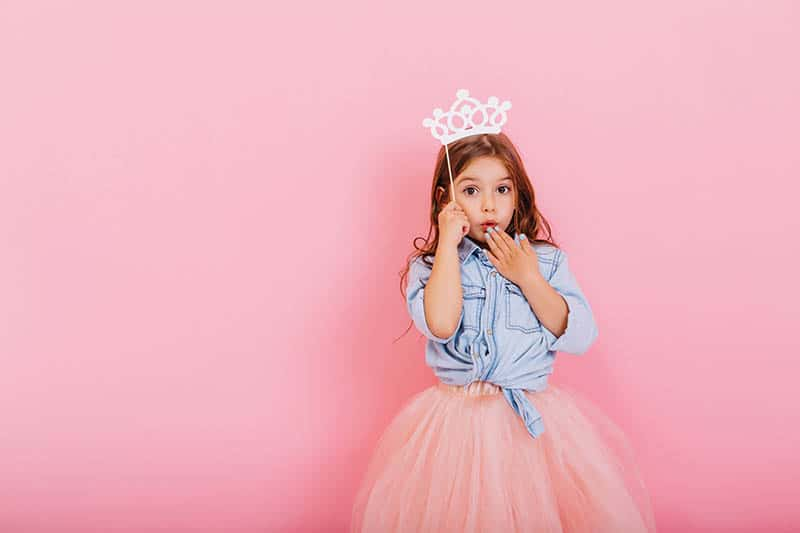 Girl Princess with pink background