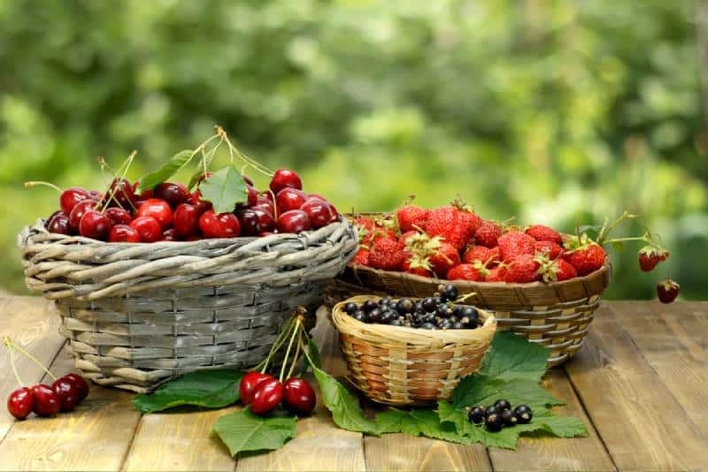 Strawberries and cherries on a wooden table