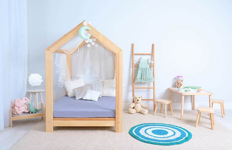 girls bedroom with toddler bed for girls