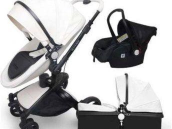 Black and white 3 in 1 baby stroller on white background