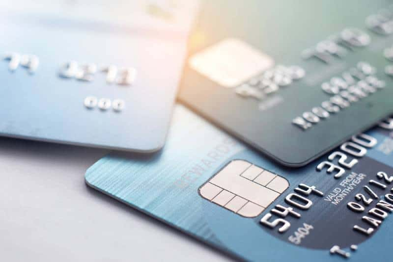 Credit card close up shot with selective focus for background