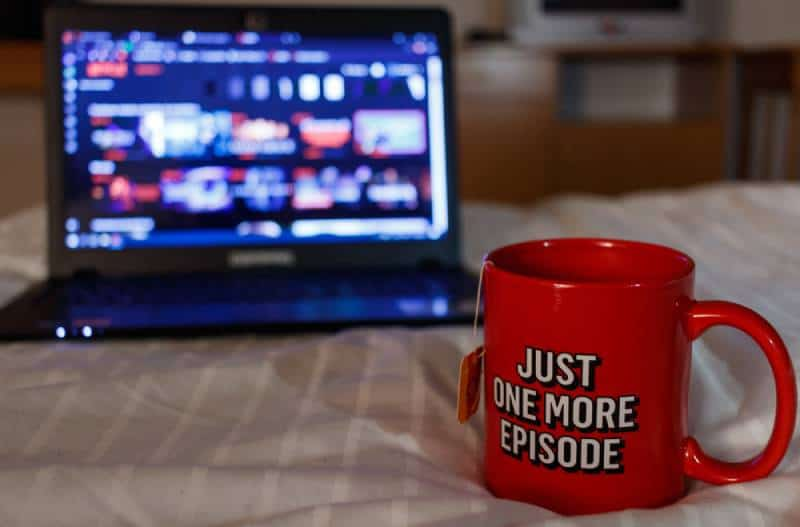 Watching series on Netflix with a cup of tea