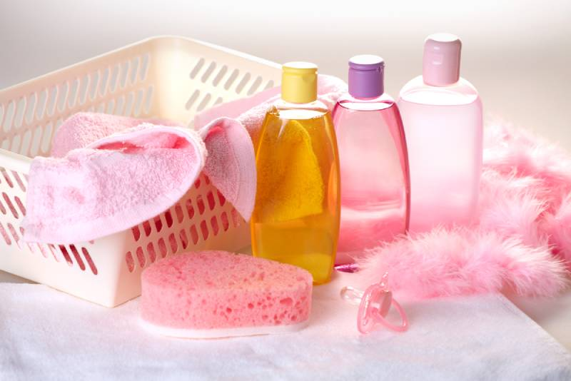 pink baby accessories for bathing