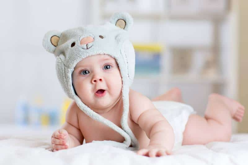 baby boy with a funny hat