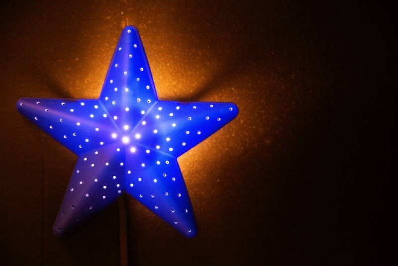 photo of blue nightlight in the shape of a star in the children's room