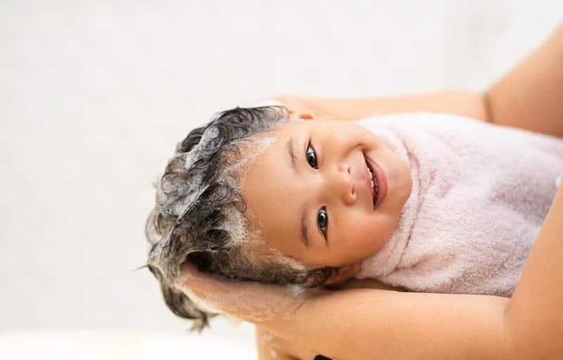 happy baby took a bath