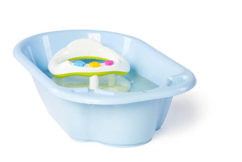 Blue baby tub on white background