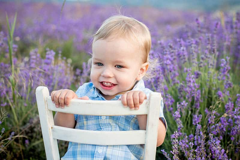 blonde boy toddler with french name in lavender summer field
