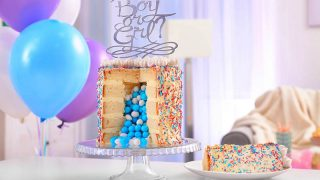 colorful cake for gender reveal