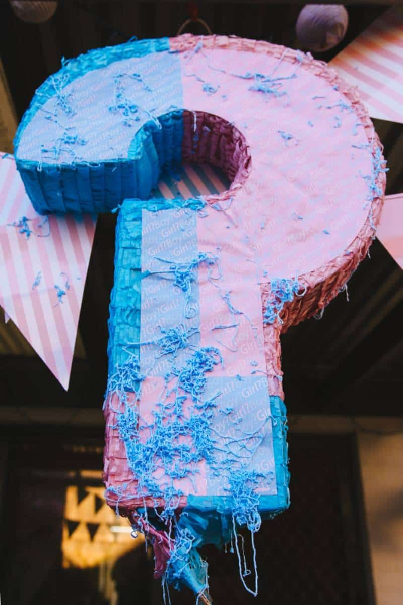 gender reveal pinata as a question mark