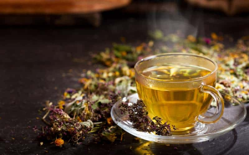 Cup of herbal tea with various herbs on dark background
