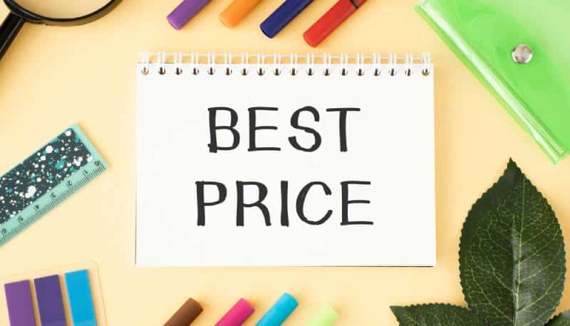 Best price written on paper with a colorful background